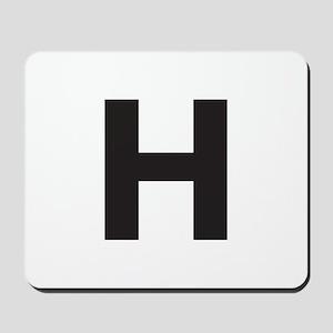 Letter H Black Mousepad