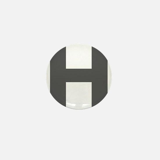 Letter H Dark Gray Mini Button