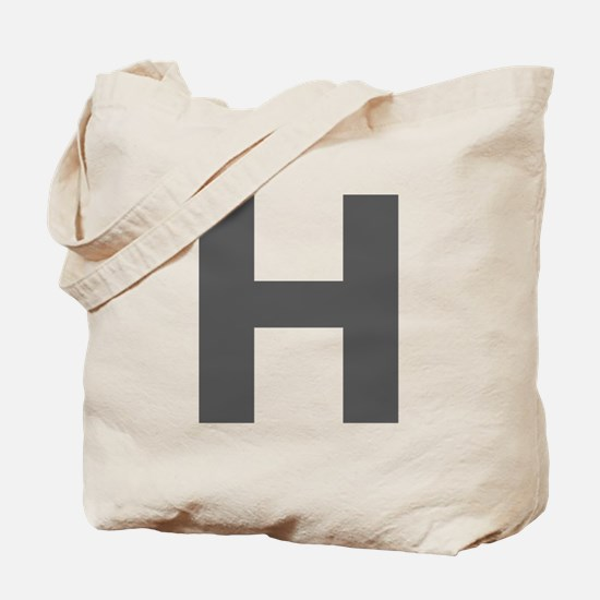 Letter H Dark Gray Tote Bag