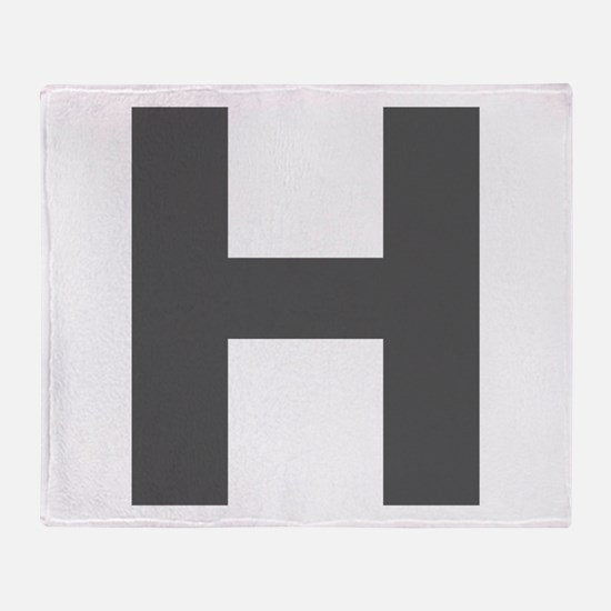 Letter H Dark Gray Throw Blanket