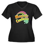 Magiclly Cu Women's Plus Size V-Neck Dark T-Shirt