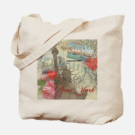 Vintage New York City Collage Tote Bag