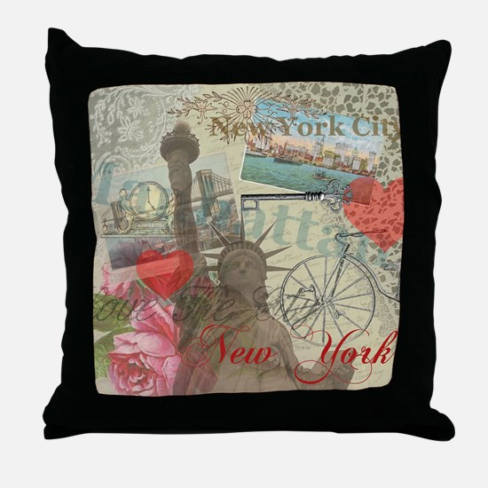 Vintage New York City Collage Throw Pillow