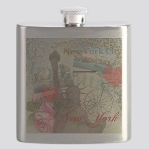 Vintage New York City Collage Flask