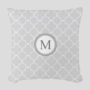 Light Grey Quatrefoil Monogram Woven Throw Pillow