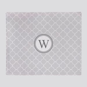 Light Grey Quatrefoil Monogram Throw Blanket