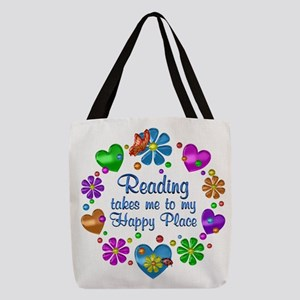 Reading My Happy Place Polyester Tote Bag