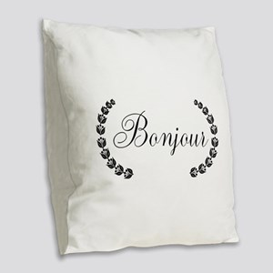 Bonjour Burlap Throw Pillow