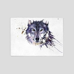 Snow Wolf 5 X7 Area Rug