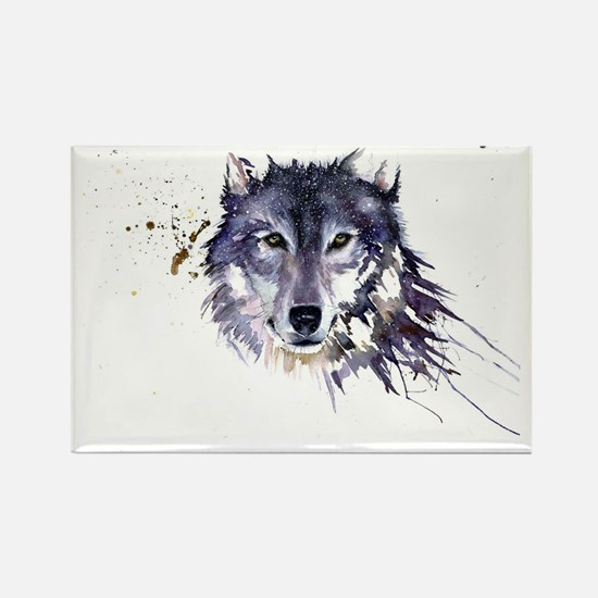 Snow Wolf Rectangle Magnet