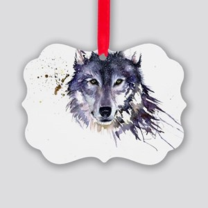 Snow Wolf Picture Ornament