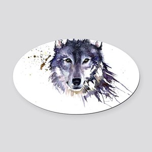 Snow Wolf Oval Car Magnet