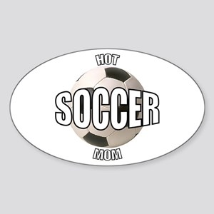 Hot Soccer Mom Oval Sticker