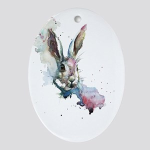 March Hare Oval Ornament