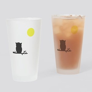 Gray Owl and Moon Drinking Glass