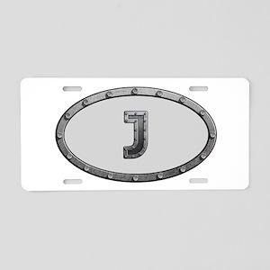 J Metal Oval Aluminum License Plate