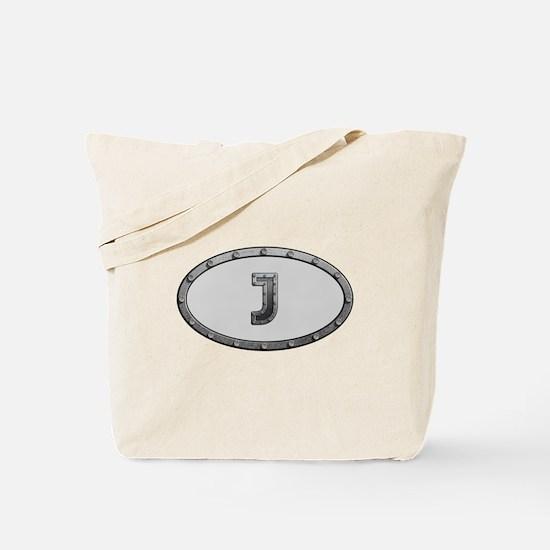 J Metal Oval Tote Bag