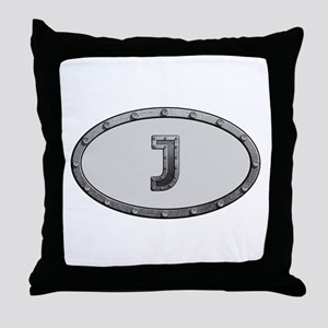 J Metal Oval Throw Pillow
