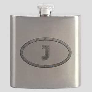 J Metal Oval Flask