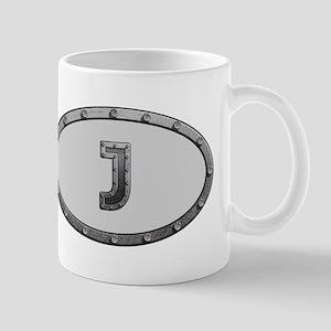 J Metal Oval Mugs