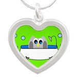 Owl In Tub (Green) Silver Heart Necklace
