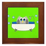 Owl In Tub (Green) Framed Tile