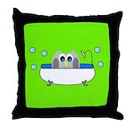 Owl In Tub (Green) Throw Pillow