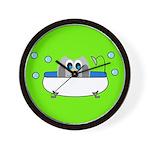 Owl In Tub (Green) Wall Clock