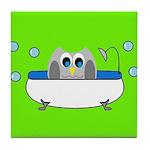 Owl In Tub (Green) Tile Coaster