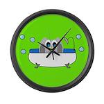 Owl In Tub (Green) Large Wall Clock