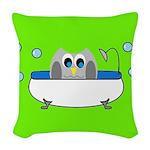Owl In Tub (Green) Woven Throw Pillow