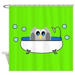 Owl In Tub (Green) Shower Curtain