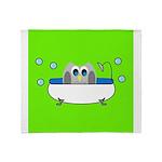 Owl In Tub (Green) Throw Blanket