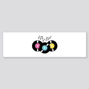 Music Records Notes Bumper Sticker
