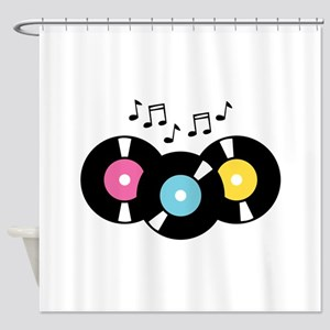 Music Records Notes Shower Curtain