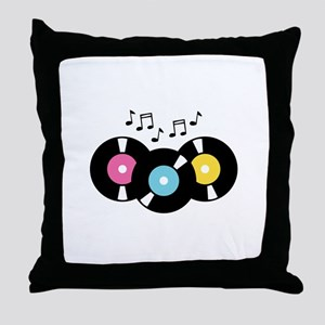 Music Records Notes Throw Pillow
