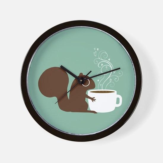 Coffee Squirrel Wall Clock
