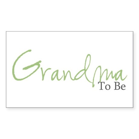 Grandma To Be (Green Script) Rectangle Sticker