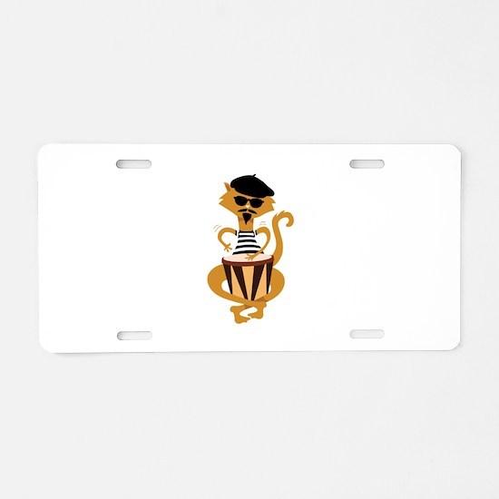 Retro Bongo Cat Aluminum License Plate