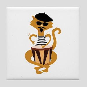 Retro Bongo Cat Tile Coaster
