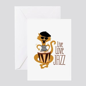 Live Love Jazz Greeting Cards