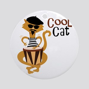 Cool Cat Ornament (Round)