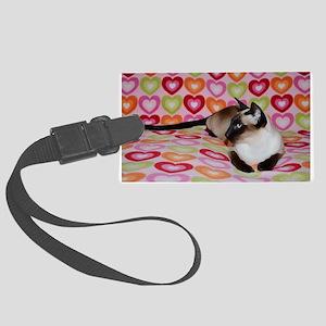 Siamese Cat Happy Valentine's Da Large Luggage Tag