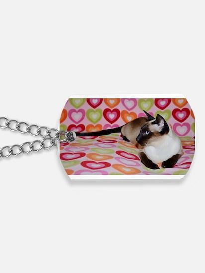 Siamese Cat Happy Valentine's Day Hearts Dog Tags