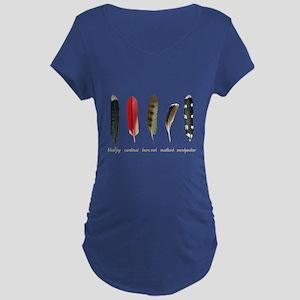 Nature Art Bird Feathers Maternity Dark T-Shirt