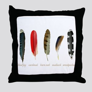 Nature Art Bird Feathers Throw Pillow