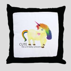 Cute Little Baby Unicorn Throw Pillow