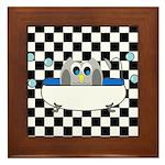 Owl In Tub (Black Checkered) Framed Tile