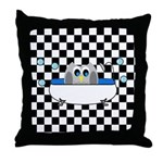 Owl In Tub (Black Checkered) Throw Pillow