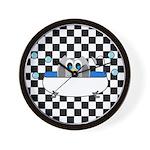 Owl In Tub (Black Checkered) Wall Clock